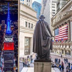 #GeorgeWashington looking over #Wall Street Presidents weekend. Empire State Building lit up in red, white and blue, love my country, proud to be an American
