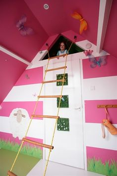 built-in-beds-for-kids: Hate the pink, love the use of the loft space!!