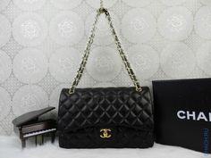 Сумка брендовая Chanel из натуральной кожи стёганая черная