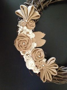 Rustic Burlap Wreath with Rosettes and Pearls