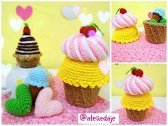 Lindos cupcakes feitos de crochê By: @ateliedaje  #amigurumi #cupcake #crochet #feitoamão #artesanato