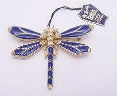 Crown-TRIFARI-Original-Tag-DRAGONFLY-Brooch-Blue-Enamel-Adv-in-Vogue-NR