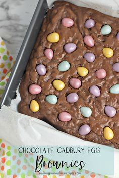 Chocolate Cadbury Egg Brownies - rich chewy chocolate brownies combined with chocolate egg candy make for a fun dessert just in time for Easter from Walking on Sunshine Recipes #brownies #homemade #easterrecipes #cadbury #homemadebrownies #baking #delicious #eastertreats