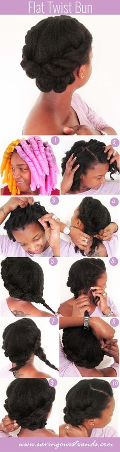 Flat twist bun by Saving Out Strands