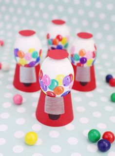Want something totally different and whimsical for your Easter eggs this year? Try making a wee gumball machine following the instructions from A Joyful Riot. - HouseBeautiful.com