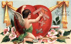 Love the idea of cupid mending a broken heart. One of more than 100 #vintage victorian-era #valentines available from piddix for licensing.