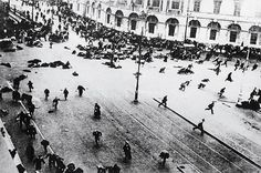 Government troops open fire on a worker's protest in Petrograd in July of 1917. The shootings only served to further anger the citizens of Petrograd.
