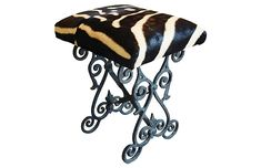 Vintage iron bench/stool upholstered in zebra pattern cowhide hair-on-hide. Living Room Stools, Wayfair Living Room Chairs, Brown Leather Recliner Chair, Blue Velvet Dining Chairs, Iron Bench, Restaurant Tables And Chairs, Big Chair, Bench Stool, Vanity Stool