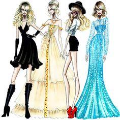 The Taylor Swift Eras - by Armand Mehidri Taylor Swift Drawing, All About Taylor Swift, Taylor Swift Style, Taylor Alison Swift, Fashion Sketchbook, Fashion Sketches, Fashion Illustrations, Fashion Images, Fashion Art