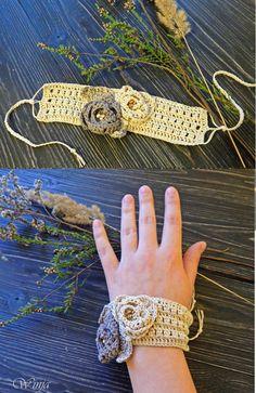 Boho chic pulsera, pulsera de algodón, lino pulsera de ganchillo, ganchillo joyería, joyería rústica, tejer pulseras, encaje marfil, regalo para ella