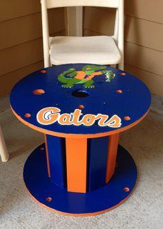 UF Gator Spool Table Uf Gator, Florida Gators, Orange Painted Furniture, Football Crafts, Football Stuff, Dixie Belle Paint, Buckeyes, Porch Decorating, Christmas Diy
