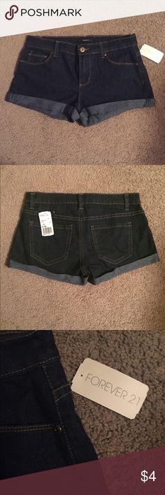 Stretch denim shorts Rolled hem. Low waist. Great stretch. NWT. Forever 21 Shorts Jean Shorts