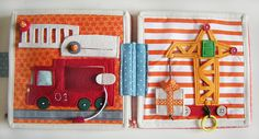 Felt Quiet Book Page: Fire Truck and Crane Diy Quiet Books, Baby Quiet Book, Felt Quiet Books, Book Projects, Sewing Projects, Book Libros, Quiet Book Patterns, Book Quilt, Busy Book