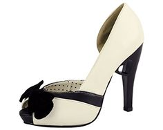 TUK Womens A8178L PeepToe PumpCreamBlack6 M US -- View the item in details by clicking the VISIT button