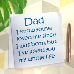 Lovely card for Father's Day there is a daddy, grandad and plural version in my shop and you can have your own name added. Such a special quote
