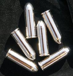 Silver Colt 45 Replica Bullets - 6 Gun Revolver Dummy Ammo Cartridge Rounds - Exact Scale .45 Caliber Straightline Collectibles
