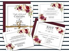 Wedding Invitations, Wedding Invitations Suite, Bohemian Wedding Invitations, Printed Invitations, Marsala Wedding - SAMPLE by ForestHillDesignsCA on Etsy Bohemian Wedding Invitations, Gold Invitations, Printable Wedding Invitations, Wedding Invitation Suite, Invitation Set, Wedding Stationery, Wedding Suite, Invite, Rsvp Wording