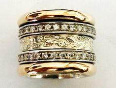 Spinner ring silver gold cz zircons by Bluenoemi on Etsy,