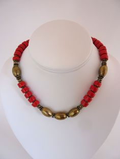 Vintage Red Choker Necklace Chunky Red Glazed Clay Beads Bronze Brass Oval Beads Orig Tag Made in Greece NWT Summer Red Choker Ethnic Boho by BonniesVintageAttic on Etsy