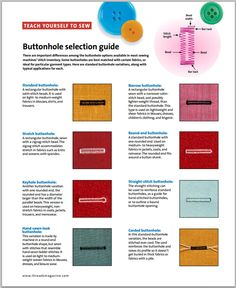 BUTTONHOLE SELECTION GUIDE - FREE PDF to download from Threads Magazine #168 (August/September 2013 http://images.taunton.com/downloads/th/T168-TY-MachineButtonhole-Guide.pdf).