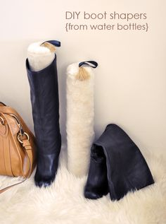 These fur and tassled DIY boot-shapers (courtesy of Love, Maegan) were made from Smart Water bottles! In case you need more reasons to drink more H20
