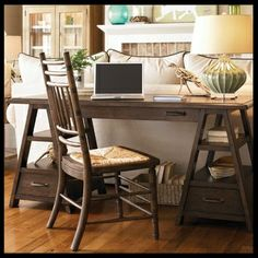 Sawhorse Work Table - Haynes Furniture - Paula Dean - if you had a need for a desk/table behind the sofa