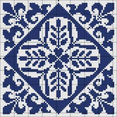 Blue tile | Chart for cross stitch or filet crochet.