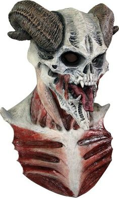 Bizarre horned skull with tendons showing-what a great skull! Has a long front bib with tendony ribs, a full over-the-head latex mask. Individually hand painted.
