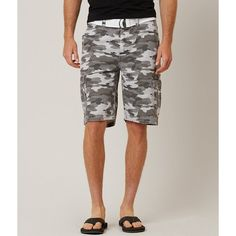 Buckle Black Turmoil Cargo Short ($65) ❤ liked on Polyvore featuring men's fashion, men's clothing, men's shorts, grey, short mens clothing, mens grey shorts, mens cargo shorts, mens camo shorts and mens camouflage shorts