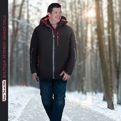 Veste tendance pour un hiver au chaud. #mode #veste #hiver #xxl Sweat Shirt, Blazer, Hooded Jacket, Athletic, Jackets, Fashion, Plus Sized Clothing, Mens Big And Tall, Man Women