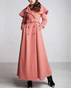 Peach Puff Winter Coat - Long Wool Blend Coat - Shawl Collar Winter Coat - Light Coral Wool Coat on Etsy, $189.99 Pink Winter Coat, Long Winter Coats, Winter Wear, Winter Wedding Outfits, Langer Mantel, Calvin Klein Collection, Sweater Jacket, Wool Coat, Hijab Fashion