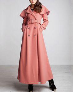 Women's Green Long Wool Winter Trench Coat Outerwear With Belt