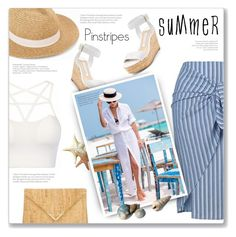 """Summer Pinstripes"" by kfpartick ❤ liked on Polyvore featuring Vero Moda, Elaine Turner and Diane Von Furstenberg"