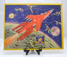 RARE Vintage Planet Patrol Puzzle Featuring Rex Mars, Jaymar Specialty Co, Space Age Frame Tray Puzzle, 1950s