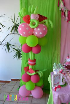 Balloons from a Strawberry watermelon party #strawberry #watermelonballoons