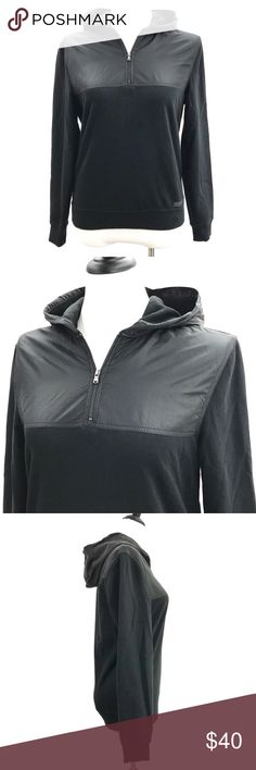 """Michael Kors Pullover Hoodie Sweatshirt 1/4 Zip Michael Kors Black Pullover Hoodie Sweatshirt 1/4 Zip Casual  CONDITION: Very good preowned condition with normal signs of light use. No major flaws or imperfections. No stains, holes or heavy wear. May show light signs of wash and wear. All wear is typical of a gently worn preowned item.  APPROXIMATE MEASUREMENTS:  All measurements are done with the Garment laying Flat:  CHEST(pit to pit): 20.5""""  SHOULDER TO SHOULDER 17.5""""  SLEEVE LENGTH: 26""""…"""