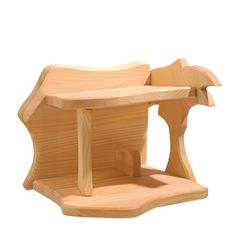 A wooden stable or manger by Kinderkram that makes a perfect backdrop for a nativity scene featuring the Ostheimer nativity figures! With a wooden silhouette of a palm tree on one end. A lovely decoration for the holidays. Nativity Creche, Nativity Stable, Waldorf Crafts, Waldorf Toys, Christmas In Germany, Wooden Wagon, Wooden Dolls, Dollhouse Dolls, Wooden Diy