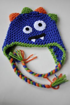 Crochet Monster Hat..love the face, but would crochet and not use felt.