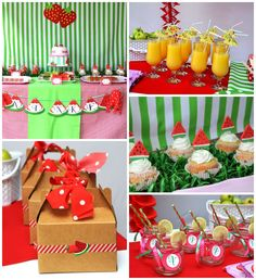 Strawberry and Watermelon themed birthday party with SUCH CUTE IDEAS via Kara's Party Ideas | Cake, decor, cupcakes, games and more! KarasPa...