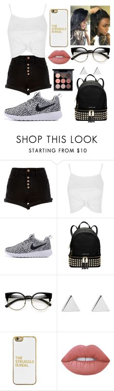 """""""Fashion is my life"""" by remarkablegirl ❤ liked on Polyvore featuring River Island, Topshop, MICHAEL Michael Kors, ZeroUV, Jennifer Meyer Jewelry, BaubleBar, Lime Crime and MAC Cosmetics"""