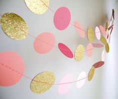 Gold Pink garland, glitter garland, circle paper , pink baby shower decor, nursery decor, girl birthday party garland via Etsy