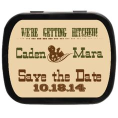 Hitched Personalized Save the Date Mint Tins, personalize with your own text, great for engagements of #rusticwedding #cowboywedding #engaged