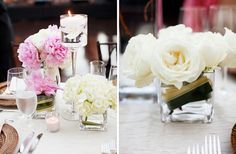 Several small arrangements and candle centerpiece. Still looks beautiful!