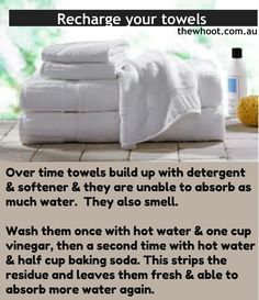 Renew towels: get rid of funky smell and make them fluffy and absorbent again! One cycle with vinegar and one cycle with baking soda- so simple!