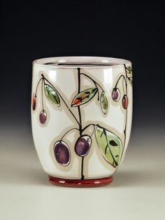 Linda Arbuckle. Yunomi: Fruits of Our Labors Purple. Majolica on terracotta.