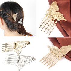Kualitas tinggi wanita Vintage Kupu-kupu Paduan Sisir Rambut Headwear Partai Fashion Jewelry 6YI5 7GT3