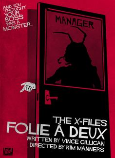 Folie à Deux - Episode 116. This is a pretty intense hour of television and it's based on a premise to which just about everyone can relate - their boss being a monster. I wanted the poster to play on that universal theme as well.