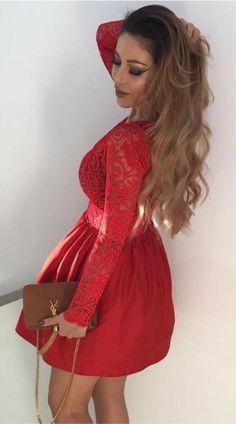 long sleeves semi formal dresses for teens, vintage red lace short homecoming dress for junior,short dress for prom