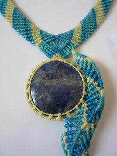 Sodalite Blue Necklace Macrame Handmade by PapachoCreations, $58.00