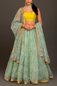 Mint Organza Lehenga Floral chintz prints on sheer organza speckled with mirrors and crystals. Trend that's taking Indian weddings by a storm! Indian Gowns Dresses, Indian Fashion Dresses, Dress Indian Style, Indian Designer Outfits, Skirt Fashion, Indian Outfits, Indian Clothes, Indian Wear, Asian Fashion